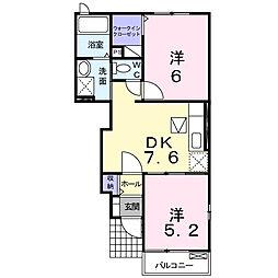 香川県三豊市豊中町本山乙の賃貸アパートの間取り