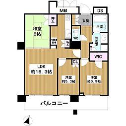 ローレルスクエア大阪ベイタワー 26階3LDKの間取り