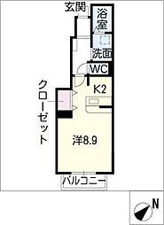 クレアフォーシーズンズ B棟[1階]の間取り