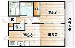 ファミーユ B棟[2階]の間取り