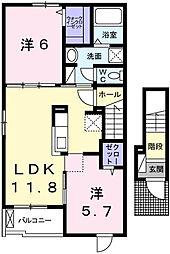 網干区新在家アパート[2階]の間取り