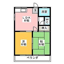 コーポ横山[1階]の間取り