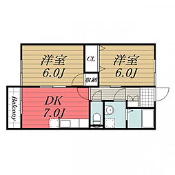 JR総武本線 八街駅 徒歩10分の賃貸アパート 2階2DKの間取り