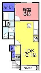 ヴェルナール3 1階1LDKの間取り