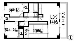 ルシエル宝塚[2階]の間取り