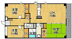 兵庫県宝塚市山本南2丁目の賃貸マンションの間取り
