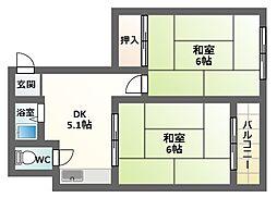 ハイツムラタ美章園[803号室]の間取り