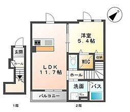 広島県福山市北本庄2の賃貸アパートの間取り