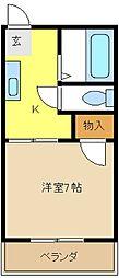 愛知県名古屋市緑区大清水1丁目の賃貸アパートの間取り