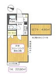 東京都江戸川区上一色2丁目の賃貸アパートの間取り