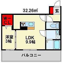 福岡県北九州市八幡西区菅原町の賃貸アパートの間取り