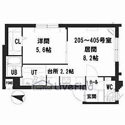 札幌市営南北線 中の島駅 徒歩8分の賃貸マンション 3階1LDKの間取り