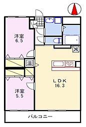 ブレイン福崎 2階2LDKの間取り