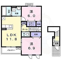 西真美2丁目アパート 2階2LDKの間取り
