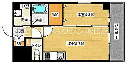 アンフィニ18吹田昭和町 3階1LDKの間取り