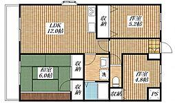 第3ハイツ藤[306号室]の間取り