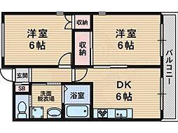 メゾン・ノゾミ 4階2DKの間取り
