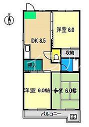 第13つくもコーポ(東)[5階]の間取り