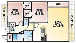 メゾンベール六甲山手[3階]の間取り