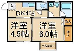 千葉県松戸市小山の賃貸アパートの間取り