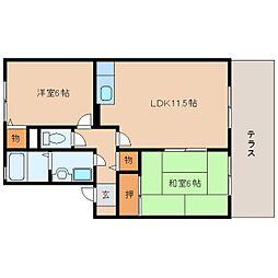 奈良県桜井市上之庄の賃貸アパートの間取り