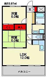 福岡県福岡市博多区井相田2丁目の賃貸マンションの間取り