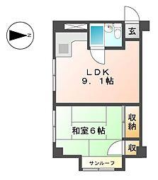 中駒新栄レオンビル[5階]の間取り