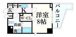 JR東海道・山陽本線 灘駅 徒歩2分の賃貸マンション 8階1Kの間取り