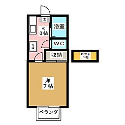 霊屋第1コーポナバタ[1階]の間取り