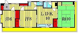 リーハイム北山[4階]の間取り