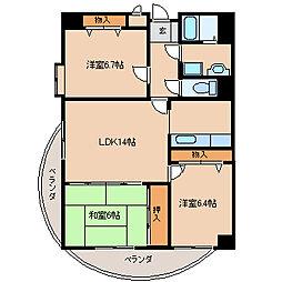 福岡県久留米市御井旗崎2丁目の賃貸マンションの間取り