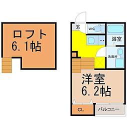 愛知県名古屋市緑区六田1丁目の賃貸アパートの間取り