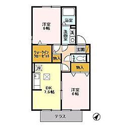 千葉県袖ケ浦市神納2丁目の賃貸アパートの間取り