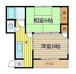 大栄荘[2階]の間取り
