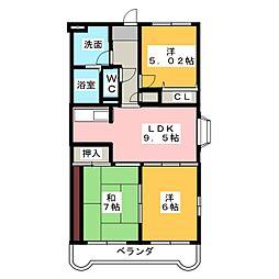 エスペランサ水戸島[2階]の間取り