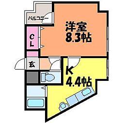 愛媛県松山市雄郡1丁目の賃貸マンションの間取り