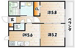 ファミーユ B棟[1階]の間取り