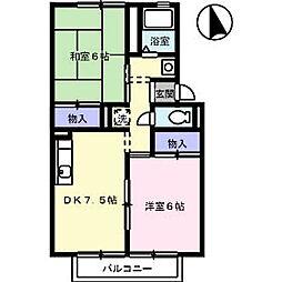 岡山県総社市清音上中島の賃貸アパートの間取り