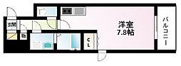 Osaka Metro御堂筋線 江坂駅 徒歩3分の賃貸マンション 13階ワンルームの間取り