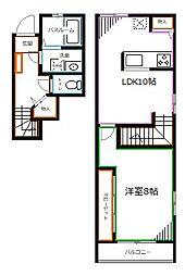 西武新宿線 井荻駅 徒歩2分の賃貸マンション 2階1LDKの間取り