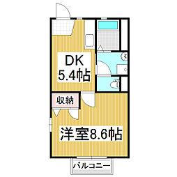 ベルデュールB棟[2階]の間取り