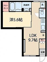 東急目黒線 西小山駅 徒歩9分の賃貸アパート 1階1LDKの間取り