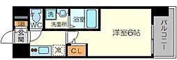 エスリード新大阪グランゲートサウス 2階1Kの間取り