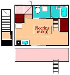 JR中央本線 武蔵小金井駅 徒歩13分の賃貸アパート 2階ワンルームの間取り