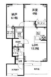 シャインメゾン2番館(システムキッチン)[1階]の間取り
