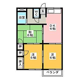 ファミールヤマダA[2階]の間取り
