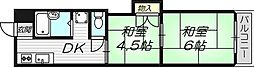 京阪本線 土居駅 徒歩8分の賃貸マンション 3階2DKの間取り