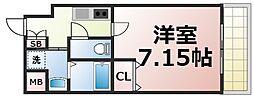 Osaka Metro中央線 緑橋駅 徒歩2分の賃貸マンション 4階1Kの間取り