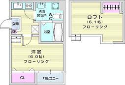 M's style 2 2階1Kの間取り