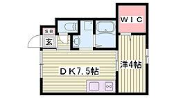 JR東海道・山陽本線 西明石駅 3.5kmの賃貸アパート 1階1DKの間取り